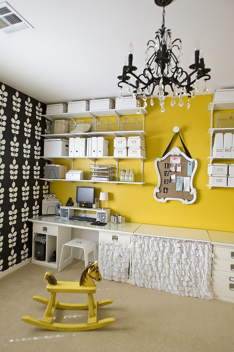 Fabulous wall shelves and yellow accent wall enliven the cool home office [Photography: Michelle Rasmussen]
