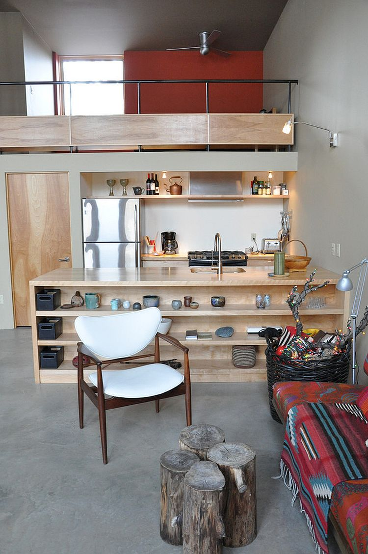 Family area and kitchen rolled into one in the rustic modern cabin [Design: Kate Gangi]