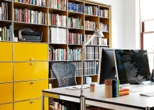 Filing cabinets in cheerful yellow steal the show in this home office
