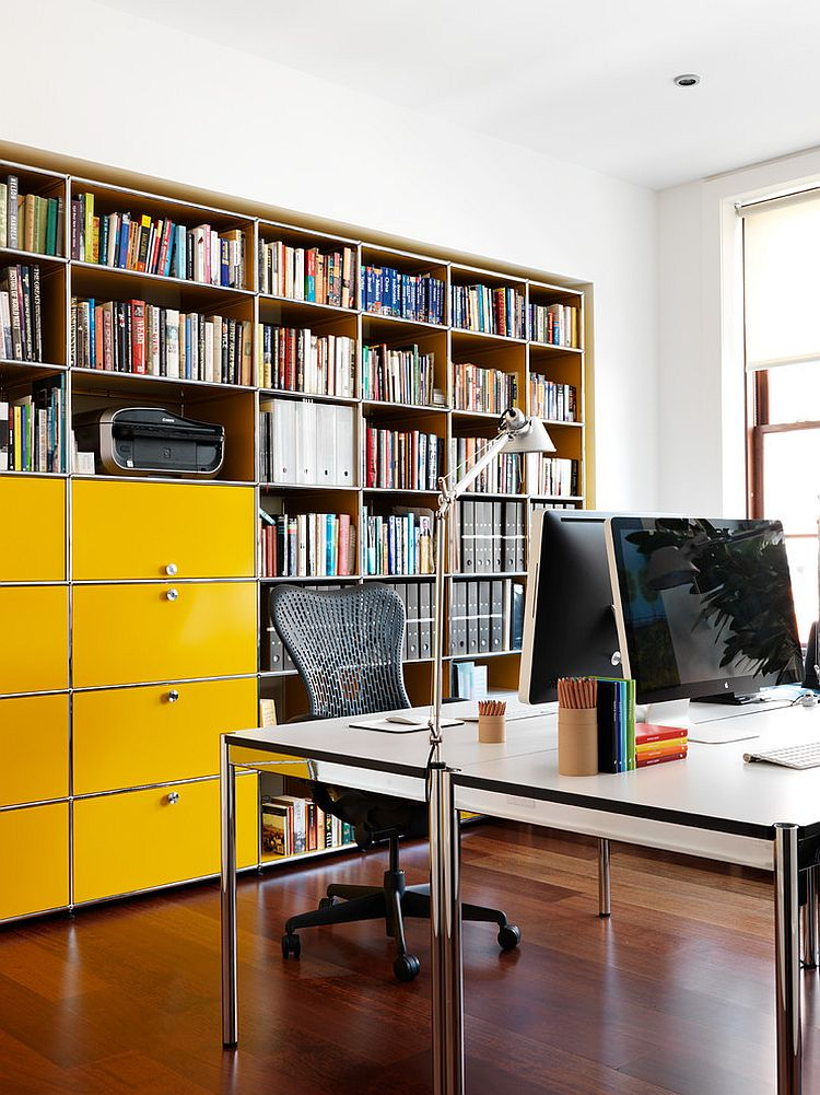 Filing cabinets in cheerful yellow steal the show in this home office [Design: Nexus Designs]