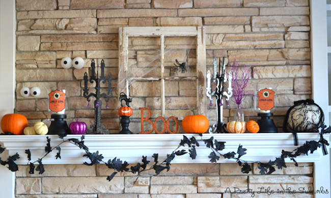Fireplace mantel with tiny Halloween accents