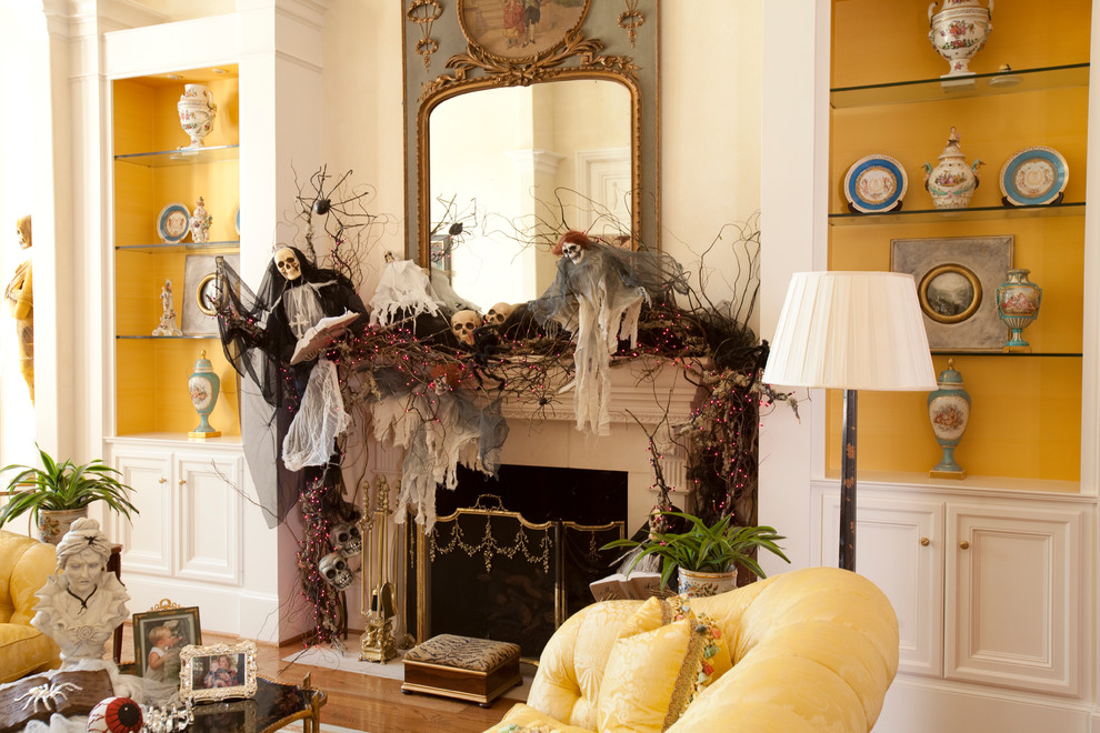 View In Gallery Fireplace With Halloween Skulls, Skeletons, And Branches