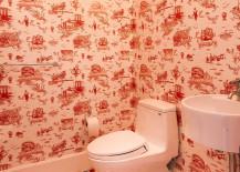 Flavor Paper Brooklyn Toile Red Bathroom