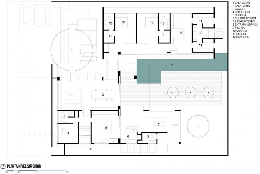 Floor plan of the RMJ Residence in Brazil