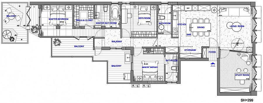 Floor plan of the apartment in Taipei City