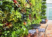 FloraFelt Vertical Garden on Cafe Wall
