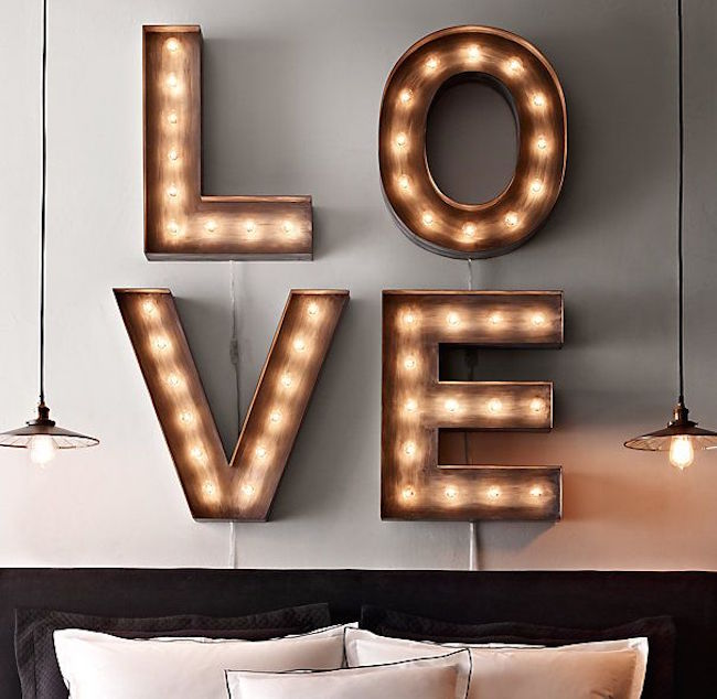 Four marquee letters to spell the word love