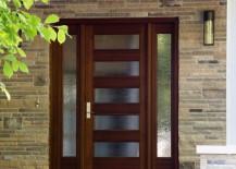 Front door featuring rain glass