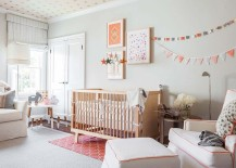Gender neutral nursery design in gray and peach with custom ceiling design