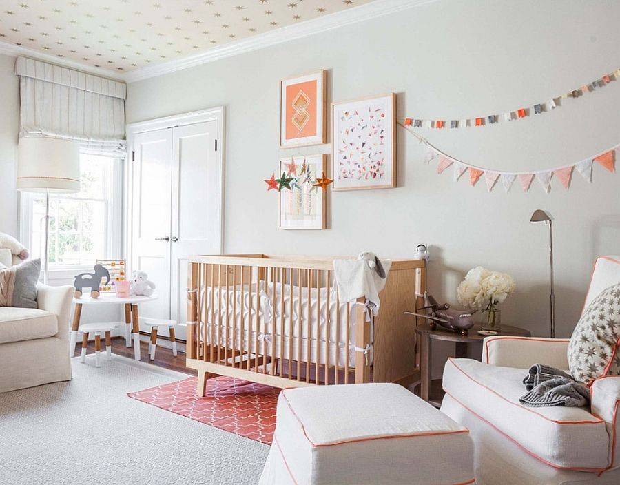 Gender neutral nursery design in gray and peach with custom ceiling design [Design: Marie Flanigan Interiors]