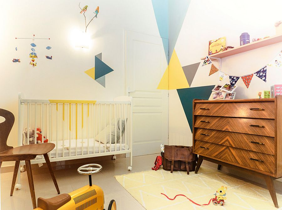 Geometric pattern coupled with vintage 60s charm in the snazzy nursery [Design: Marc Gimenez]