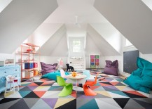 Geometric rug completely transforms the ambiance of this playroom bedroom