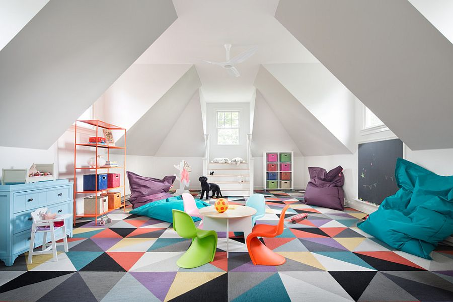 Geometric rug completely transforms the ambiance of this playroom / bedroom [Design: Stone Creek Builders]