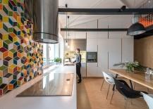 Geometric tiled backsplash for the kitchen