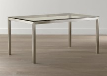 Glass and stainless steel dining table from Crate & Barrel