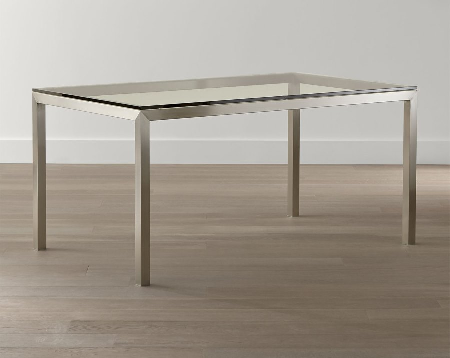 View In Gallery Glass And Stainless Steel Dining Table From Crate U0026 Barrel