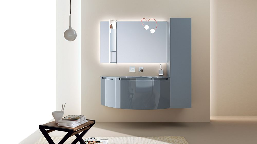 Glossy lacquered finish adds to the appeal of the bathroom vanity