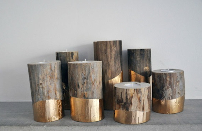 View In Gallery Gold Dipped Log Candle Holders