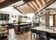 Gorgeous kitchen and dining area offers a relaxed rustic vibe with recycled style