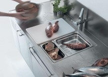 Gorgeous kitchen workstation in stainless steel