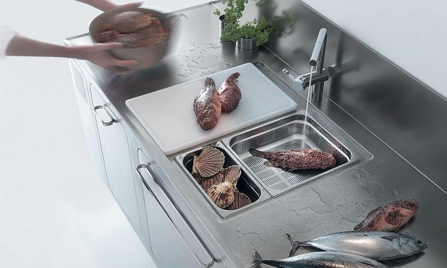 Gorgeous kitchen workstation in stainless steel