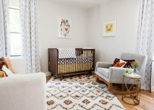 Gorgeous rug adds coziness to the stylish Scandinavian nursery 217x155 Comfy Sophistication: 25 Gorgeous Scandinavian Style Nursery Ideas