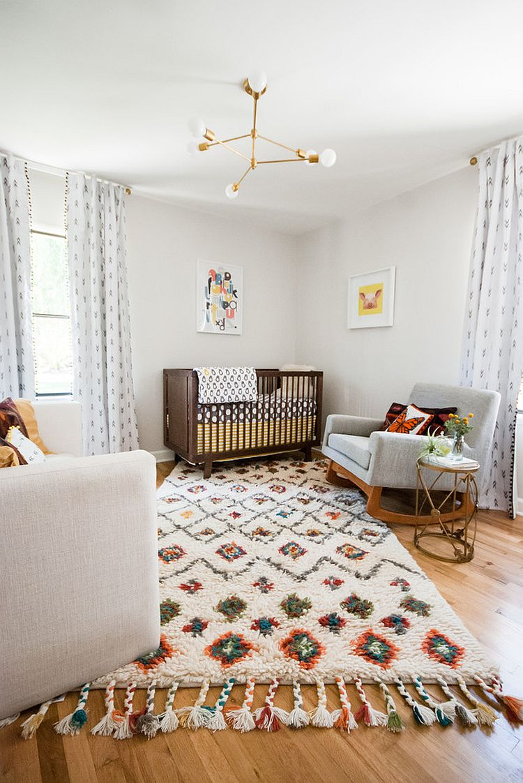 Gorgeous rug adds coziness to the stylish Scandinavian nursery [Design: Jamie B Interiors]
