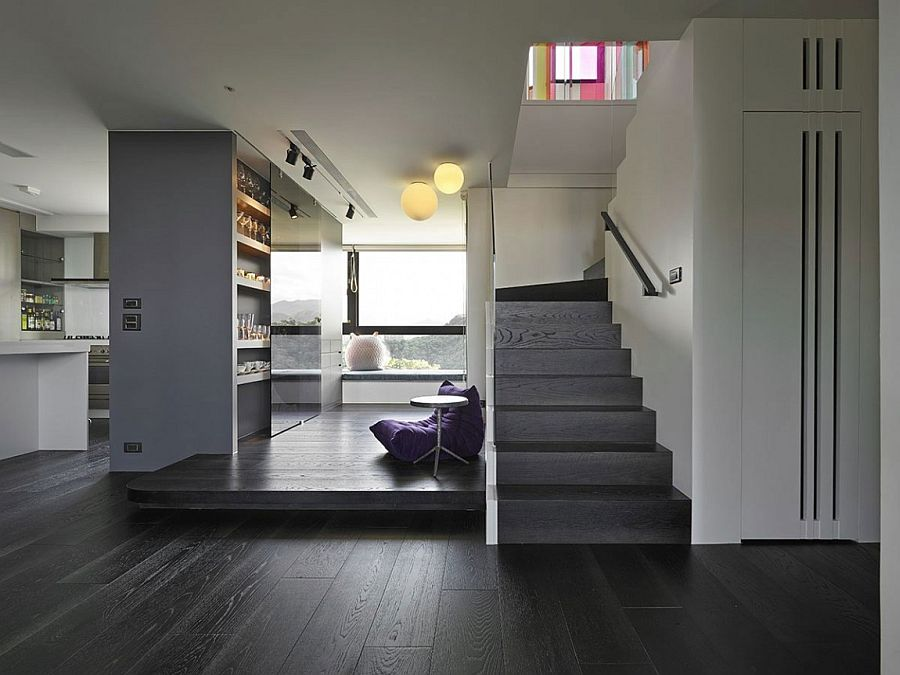 Gorgeous storage idea and a window nook in the contemporary Taiwan home