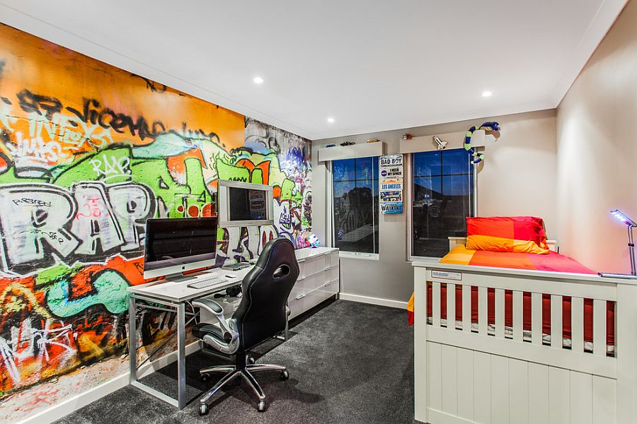 Graffiti on the wall adds color to the room [From: Putra Indrawan Photography]