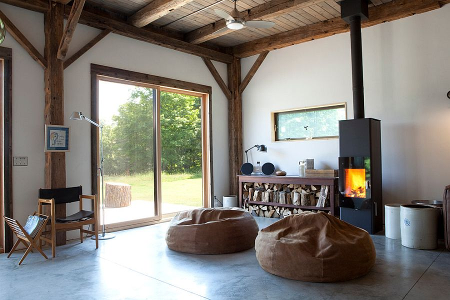Grand Leather Bean Bag Chairs offer plush seating near the firplace