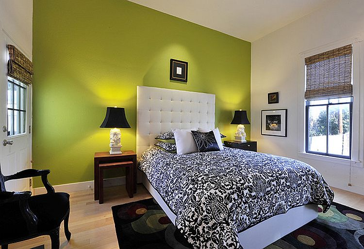 Green accent wall for the gorgeous bedroom [Design: Panache Interiors]