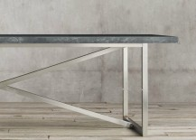 Grey marble and stainless steel dining table from Restoration Hardware