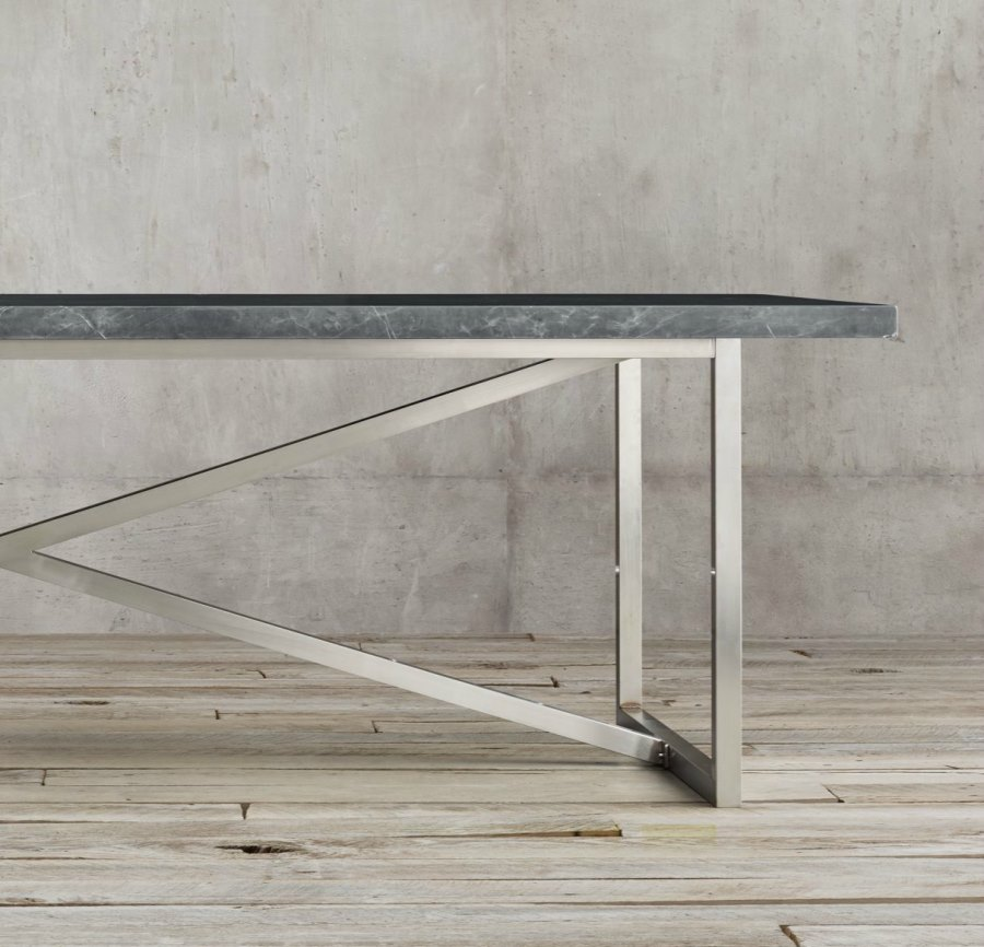 Sleek Stainless Steel Dining Tables - Restoration hardware marble dining table