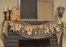 Halloween fireplace decor with a vintage look