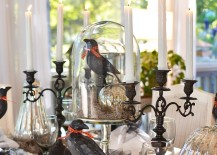 Halloween table setting with mercury glass pumpkins and black crows decorations
