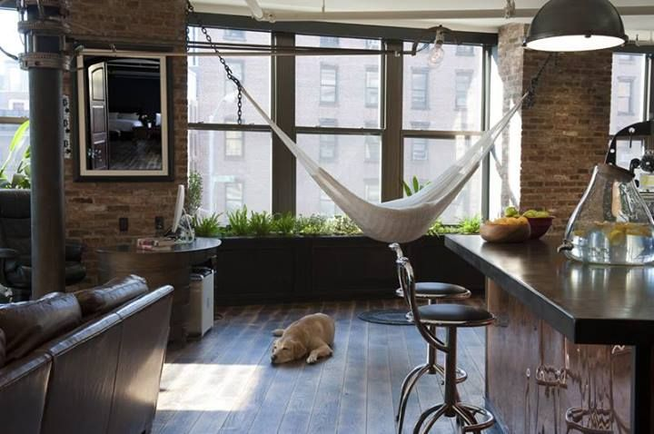Hammock besides a kitchen