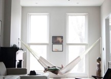Hammock hung by two large windows