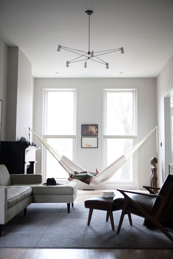 ... Hammock Hung By Two Large Windows Photo Gallery