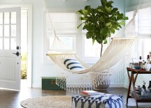 Hammock hung in a sunny spot right by the front door 217x155 18 Indoor Hammocks to Take a Relaxing Snooze In Any Time