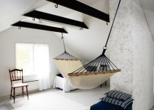 Hammock in a Scandinavian bedroom 217x155 18 Indoor Hammocks to Take a Relaxing Snooze In Any Time