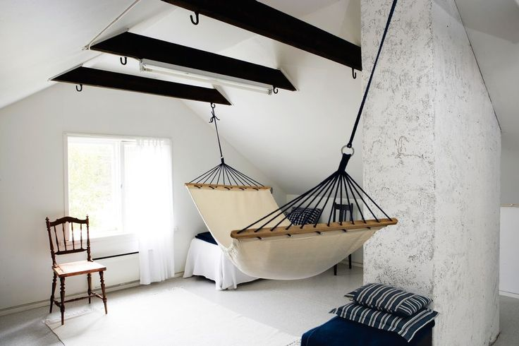Hammock in a Scandinavian bedroom
