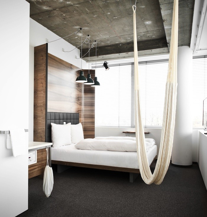 View in gallery Hammock in bedroom at the Hotel Daniel in Vienna. 18 Indoor Hammocks to Take a Rela Snooze In Any Time