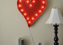 Heart marquee sign hung above desk 217x155 22 Illuminating Vintage Marquee Lighting Ideas