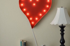 Heart marquee sign hung above desk  22 Illuminating Vintage Marquee Lighting Ideas Heart marquee sign hung above desk 270x180