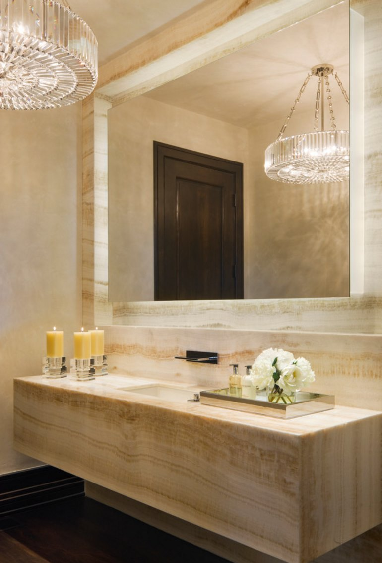 View In Gallery High End Bathroom With Candles And Flowers