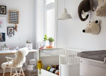 Home office with nursery is a practical idea for working parents