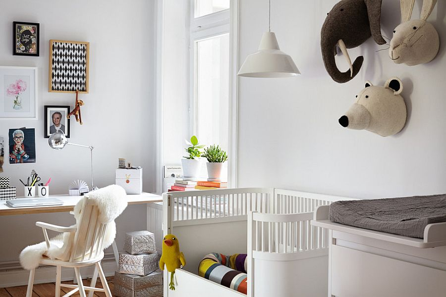 Home office with nursery is a practical idea for working parents [From: Callwey / Photpgraphy: Brita Sönnichsen]