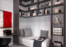Home work space and guest room design in black, white and gray