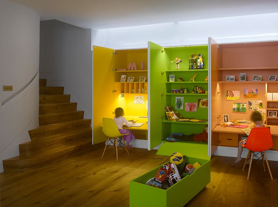 Home work stations for the kids' room with ample color [Design: MATT architecture LLP]