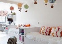 Hot air balloons are by Authentic Models bring color to the contemporary kids bedroom 217x155 Beyond Paint: 30 Inventive Ways to Add Color to the Kids' Bedroom